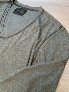 DIESEL-BLACK-GOLD-PLAIN-LUXURY-LANA-WOOL-SHIRT-TSHIRT-TOP-V-Ausschnitt-V-NECK-XL