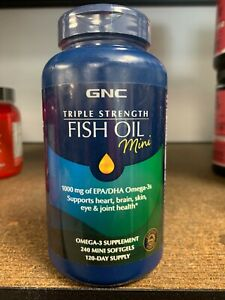 GNC Triple Strength Fish Oil Mini 240 Mini Softgels Fast Free Shipping