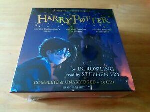 HARRY-POTTER-AUDIO-BOOKS-1-3-J-K-ROWLING-STEPHEN-FRY-UNABRIDGED-25-CD-RRP-95