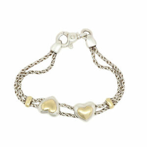 53df9182b Tiffany & Co. S. Silver 18K Yellow Gold Double Rope Puffed Hearts ...