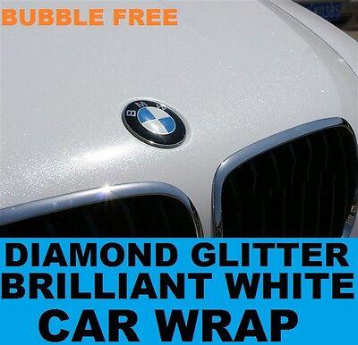 Diamond Brilliant White Car Wrap 1.52 x 20 Meters - Bubble Free Vinyl Glitter