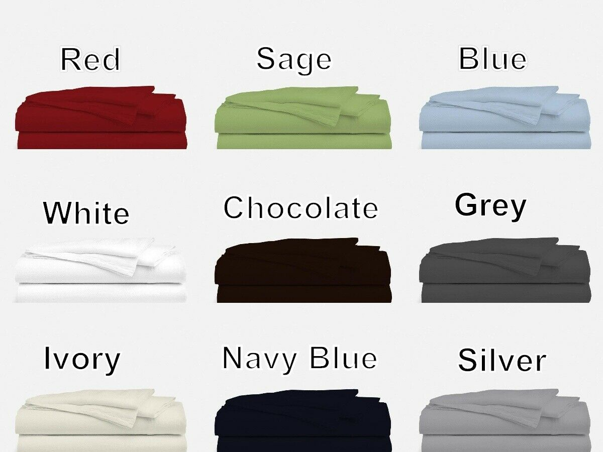 """100/% Cotton Blue Bed Sheet Set Extra Deep 15/"""" Sheets Queen//King All Size"""