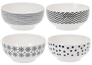 Siaki-Set-of-4-Bowls-Breakfast-Soup-Cereal-Bowls-New-Bone-China-Lines-Stripes