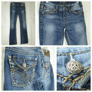Silver-Womens-Jeans-Western-Glove-Works-Pioneer-Boot-Cut-Size-27W-34L