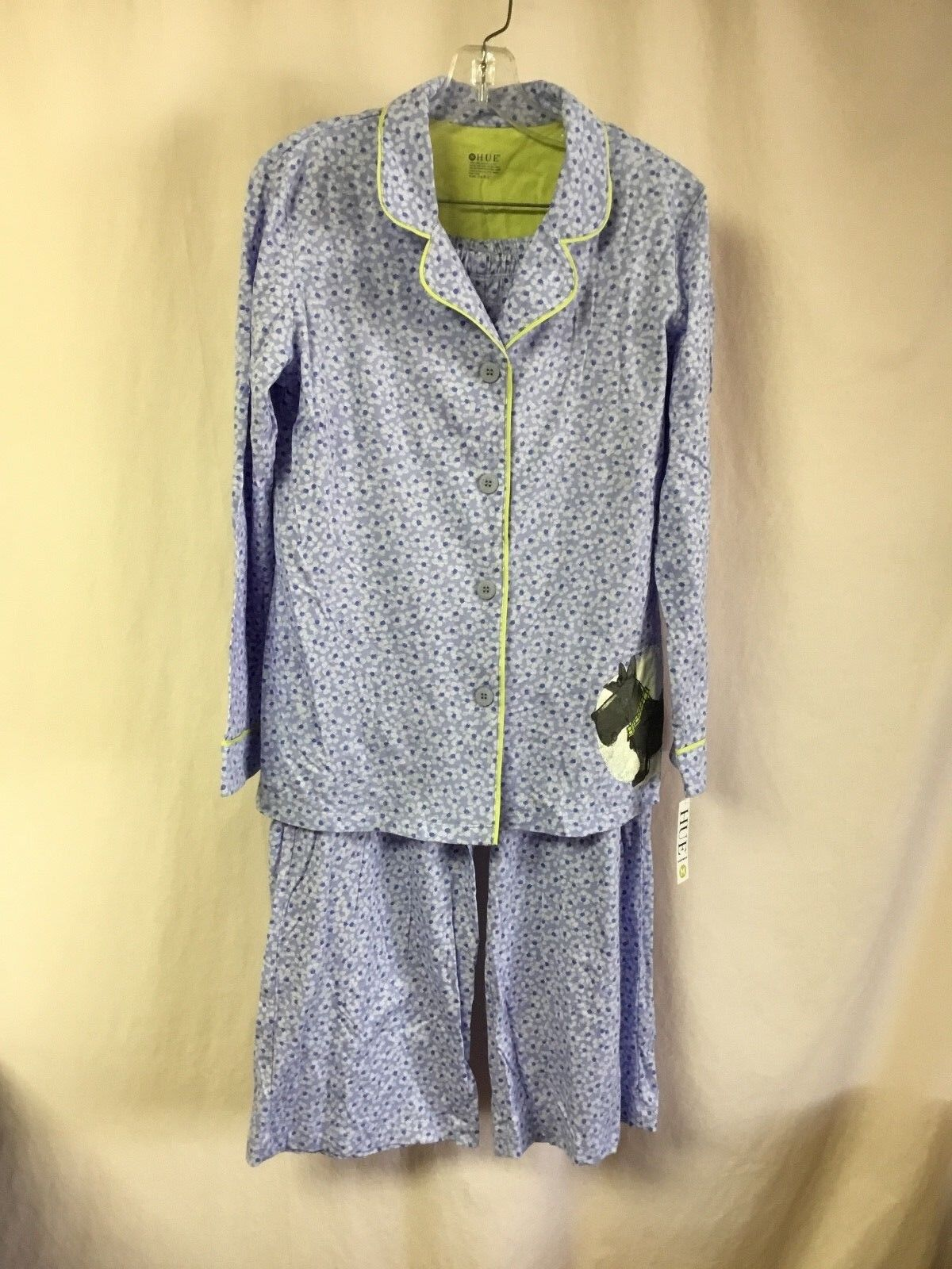 NWT Women's Hue Sleepwear 2 Piece Pajama Set Size Large Peri bluee P