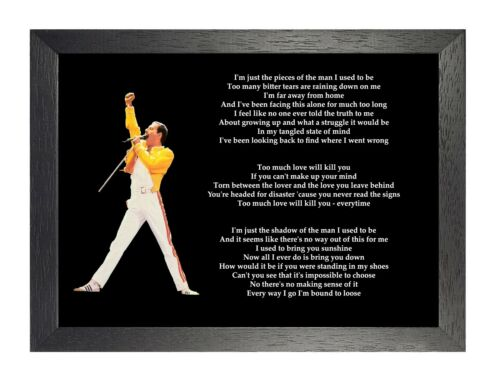 Too Much Love Will Kill You Queen Freddy Mercury Rock Band Lyrics Poster