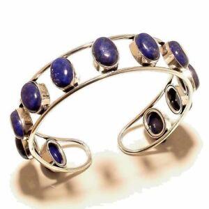 925-Sterling-Silver-Overlay-Lapis-Lazuli-Stone-Bangle-Cuff-Bracelet-2-75-034-Inch