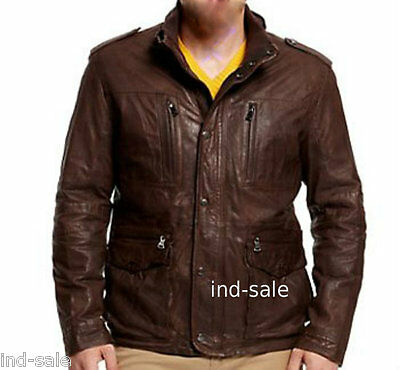 Custom Tailor Made All Sizes Brown Leather Jacket 4 pockets Designer NR Biker