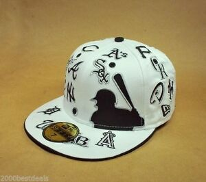 NEW ERA HAT CAP 59FIFTY ALL OVER MLB TEAMS CUSTOM FITTED WHITE BLACK GRAY
