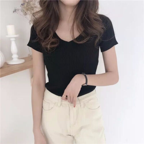 Korean Women T shirt Slim V Neck Solid Loose Casual Knitted Blouse Tops Shi X/_D