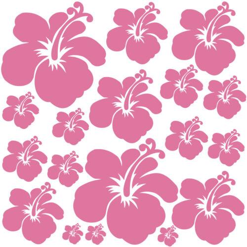 Sticker Décoration Planche Nature 18 Fleurs d/'Hibiscus 20x20 cm à 30x30 cm