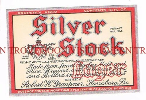 Unused 1930s U-Permit Graupner Silver Stock Beer Label Tavern Trove Pennsylvania