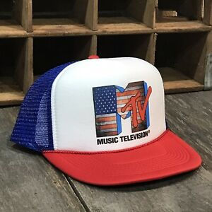 Details about MTV Music Television Patriot USA Flag Trucker Hat! Vintage 90 s  Style Snapback e0d6e2d8574