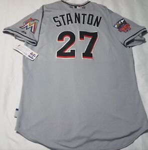 online store 4e2a3 7436d Details about MAJESTIC AUTHENTIC 52 2XL, MIAMI MARLINS, GIANCARLO STANTON,  COOL BASE Jersey