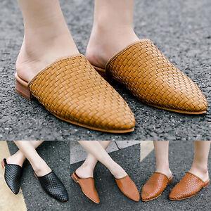 Women-Flat-Point-Toe-Leather-MULES-SHOES-Sandals-Ladies-Slipper-Pumps-Flip-Flops