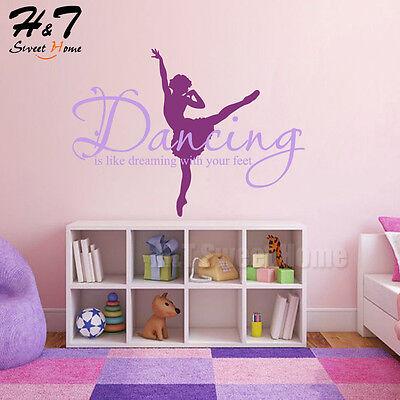 DANCER Vinyl Wall Decal Quote Words Lettering Sticker Girls Room Dance