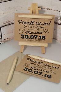 From 15p each pencil us in diy save the date cards kraft brown image is loading from 15p each pencil us in diy save junglespirit Gallery