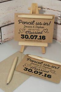 From 15p each pencil us in diy save the date cards kraft brown image is loading from 15p each pencil us in diy save junglespirit Choice Image
