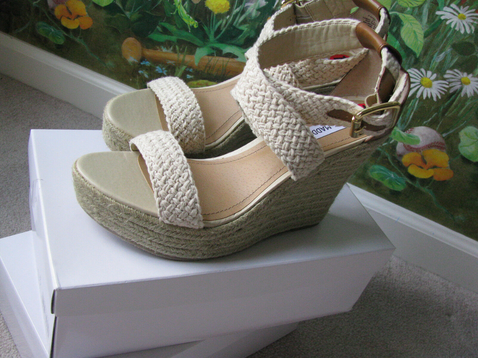 STEVE MADDEN Women's Natural Wedge shoes  Sandals Size 10M