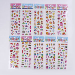Details about 10 Sheets kids cartoon ice cream food bubble stickers  children school reward