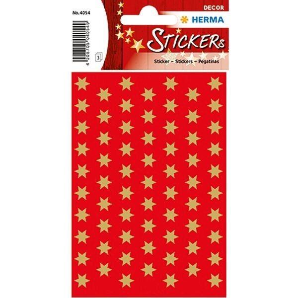 Herma 4054, Sticker Schmucketiketten Weihnachten Sterne 6-zackig, gold Ø 8 mm