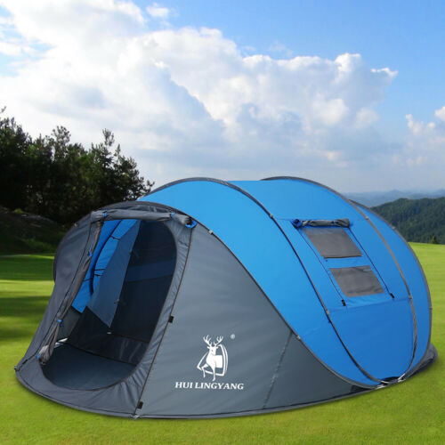 4-6 Person Large Tent Double Layer Auto Pop Up Family Outdoor Camping Tent