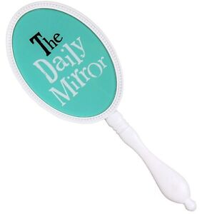 BRAND-NEW-WITH-TAGS-The-Daily-Mirror-Hand-Held-Mirror-Colour-Green-amp-White