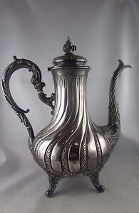 Uhrmacher Antik Kaffeekanne Massiv Silber Poincon Minerve Xix Louis Xv-stil Rocaille Angenehm Im Nachgeschmack