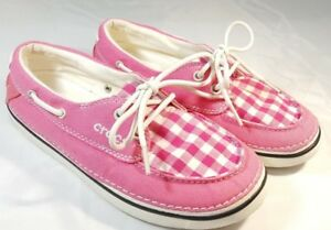 7168c23ab8b9d Womens Crocs Pink White Gingham Boat Shoes Deck Lace Up Casual Slip ...