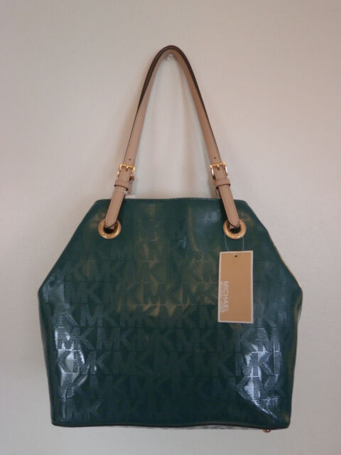 NWT MICHAEL KORS LEATHER JET SET ITEM GREEN GRAB BAG PURSE TOTE