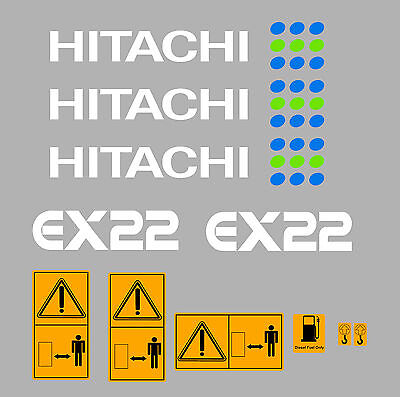 Diggers Hitachi Ex22 Mini Digger Decal Set With Safety Warning Signs