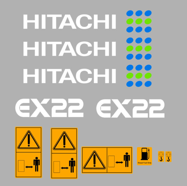 HITACHI ZAXIS 135US DIGGER DECAL STICKER SET WITH SAFETY WARNING SIGNS