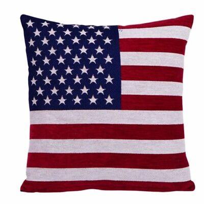 USA America Flag Pillow Case Chenille  Cushion Cover -Square
