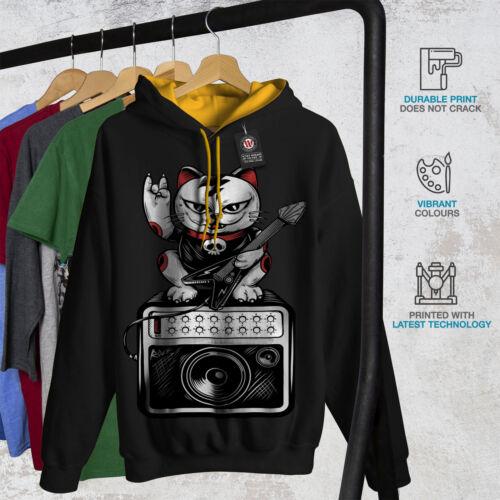 Wellcoda Cat Kitten Rock Star Mens Contrast Hoodie Music Casual Jumper