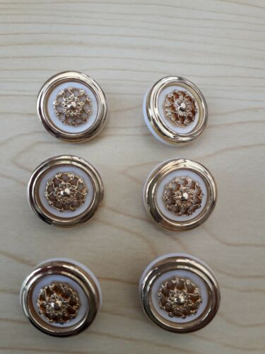 Ornate Design White//Gold  2 cm Shank Buttons Cardigan Dress Jacket Craft New