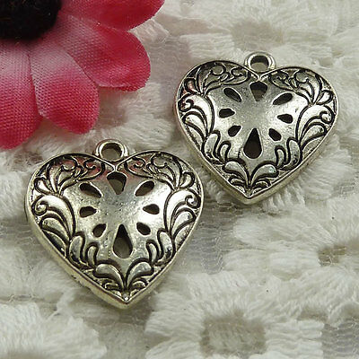 Free Ship 114 pieces Antique silver heart charms 23x21mm #895