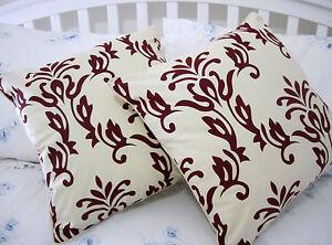 2-Cushion-Cover-RED-100-natural-beige-cotton-canvas-decorative-slip-sofa-throw