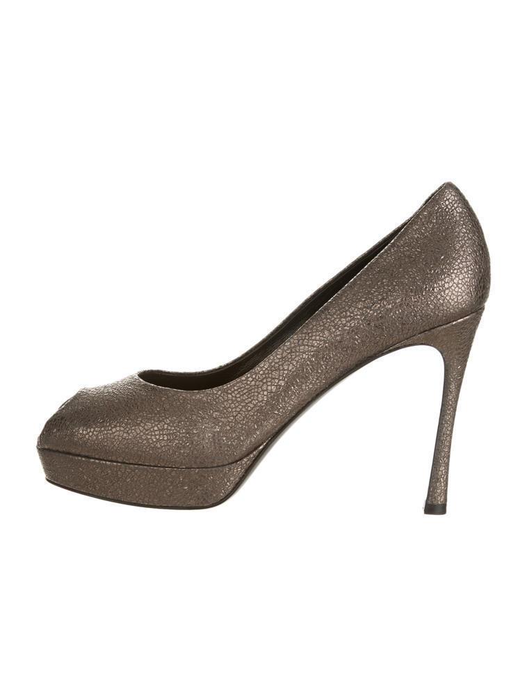 795   YSL Gunmetal-tone Palais Pumps shoes Platform  .Size 11