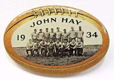1934 JOHN HAY Cleveland High School TEAM PHOTO figural football pinback button +