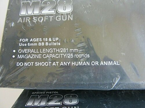 Length 281mm-MagCapacity25 Rounds NEW-M28 AIRSOFT SPRING PISTOL-6mm Plastic BB