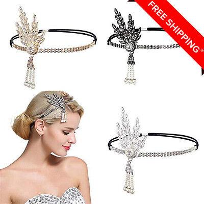 Art Deco 1920s Flapper Great Gatsby Leaf Wedding Bridal Tiara Pearl Headpiece Headband with Feather