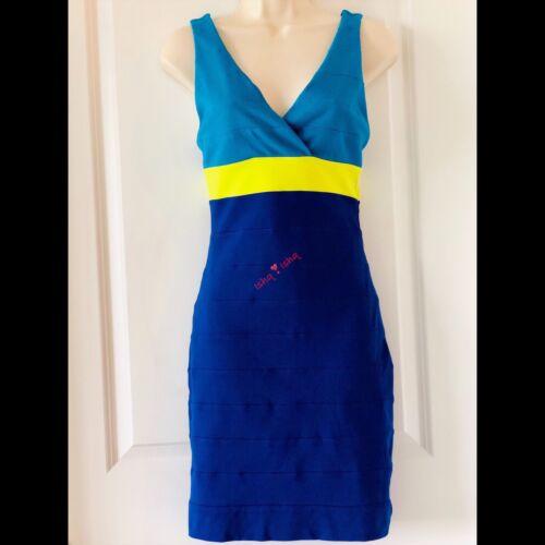 Express Color Block Bandage Bodycon Dress Royal Bl