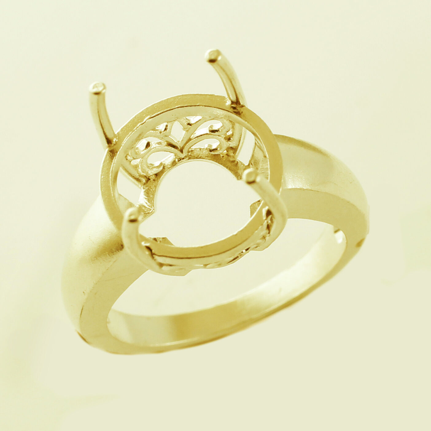 Semi Mount Ring 12.00 MM Round Shape Genuine Lady Beautiful gold Gift Jewelry