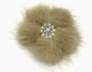 Vintage 1950 Real MINK Faux Pearl & BLUE RHINESTONE Brooch Pin GIFT BOXED