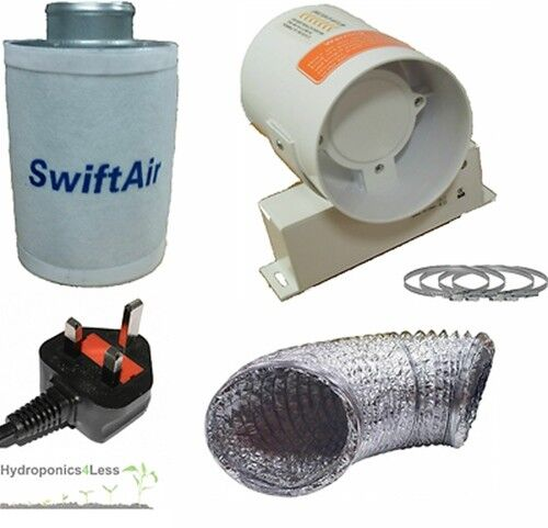 """4/"""" 5/"""" 6/"""" Carbon Filter InLine Fan Duct Kit Hydroponic Tent Room Grow Ventilation"""