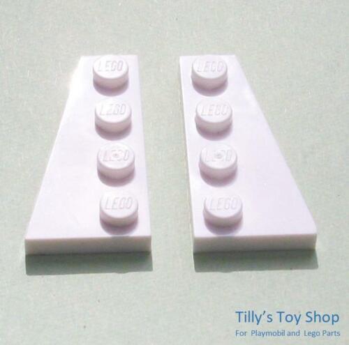 Lego-ocho 2x4 Derecho Izquierda Delgada Placa De Ángulo De Cuña-Blanco 41769 41770-Nuevos