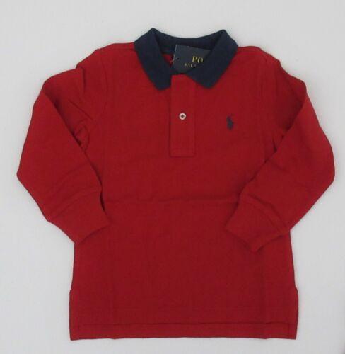 NWT Ralph Lauren Boy Long Sleeve Contrast Collar Mesh Polo Shirt Sz 2t 3t 4t NEW