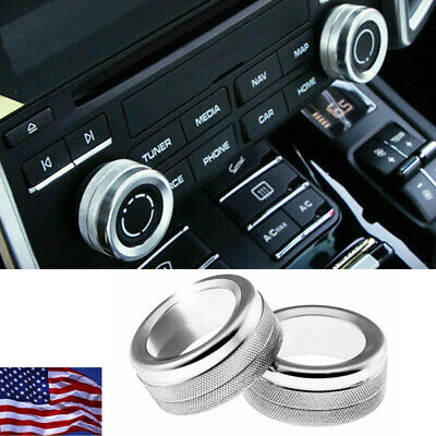 2xChrome Silver Volume Radio Knob Covers For Porsche 911 Cayenne Macan 718