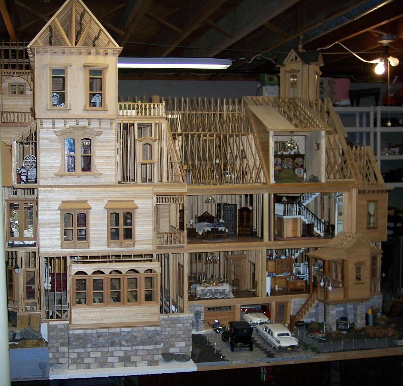 Image 11 - CUSTOM ONE-OF-A-KIND VICTORIAN DOLL HOUSE 1920's Style 47 ROOMS 1/12 SCALE