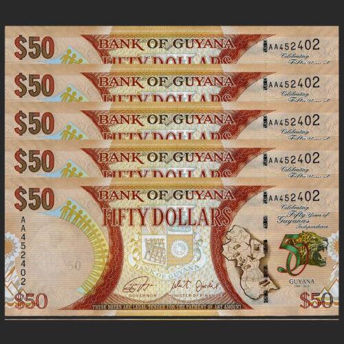 Guyana 50 Dollars P-New 2016 Lot 5 PCS UNC/>50th Commemorative